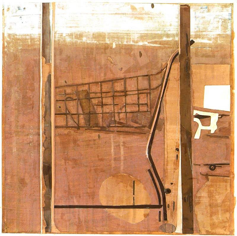 Eugene Brodsky (LA)   Cart , 2009  BROD173   mixed media on silk, 20 x 20 inches
