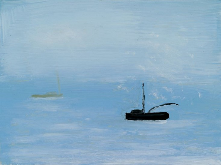 Kathryn Lynch (LA), Grey Boat on Blue Sea 2015, oil on board