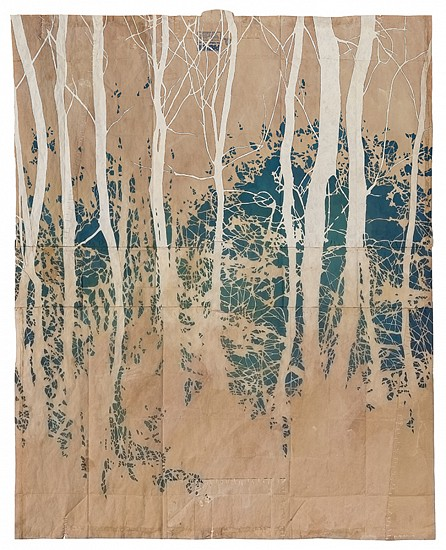 Maysey Craddock, Lost Bay 2015, gouache and thread on found paper