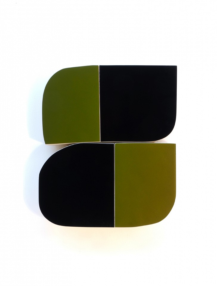 Andrew Zimmerman   Rescue Green and Black , 2018  ZIM511   Automotive paint on wood, 15 x 12 1/2 x 2 1/2