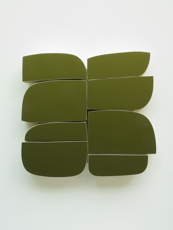 Andrew Zimmerman   Rescue Green 2 , 2018  ZIM555   Automotive paint on wood, 17 x 16.5 x 2 inches