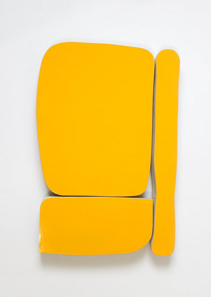 Andrew Zimmerman   Golden Yellow , 2018  ZIM589   Automotive paint on wood, 17 x 25 x 2 inches
