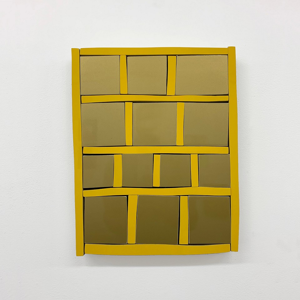 Andrew Zimmerman   Mayan Yellow Grid , 2019  ZIM677   Automotive paint on wood, 14 X 11 X 1 1/2 inches