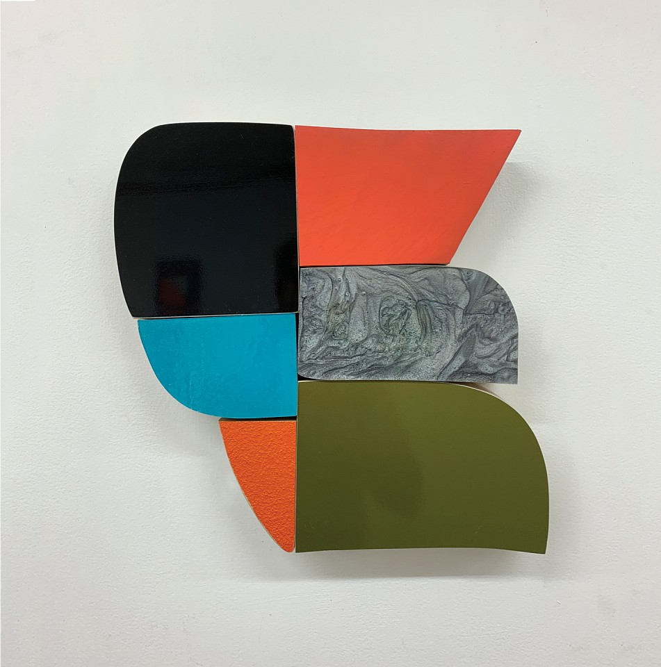Andrew Zimmerman   Quilt 2 , 2019  ZIM678   automotive paint, enamel, and epoxy on wood, 16 x 16 x 2 1/2 inches