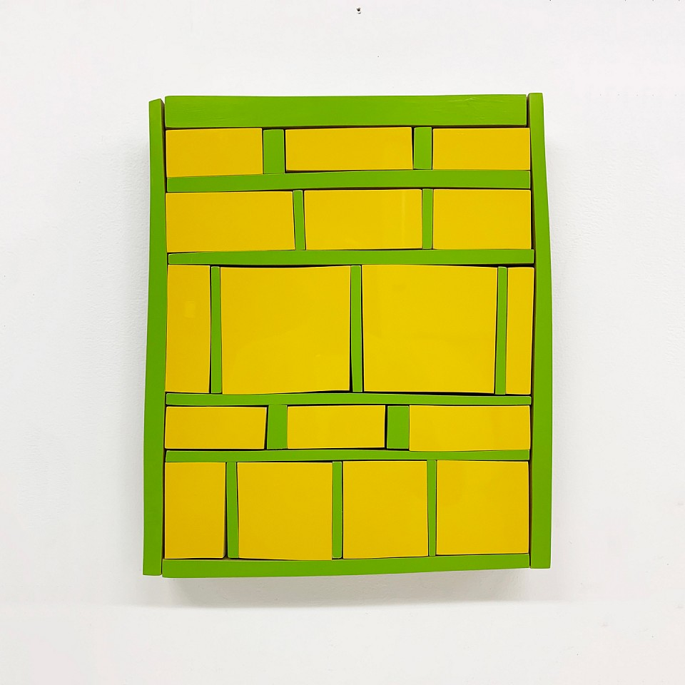 Andrew Zimmerman   Yellow and Green , 2019  ZIM683   Automotive paint on wood, 15 x 12 1/2 x 1 1/2 inches
