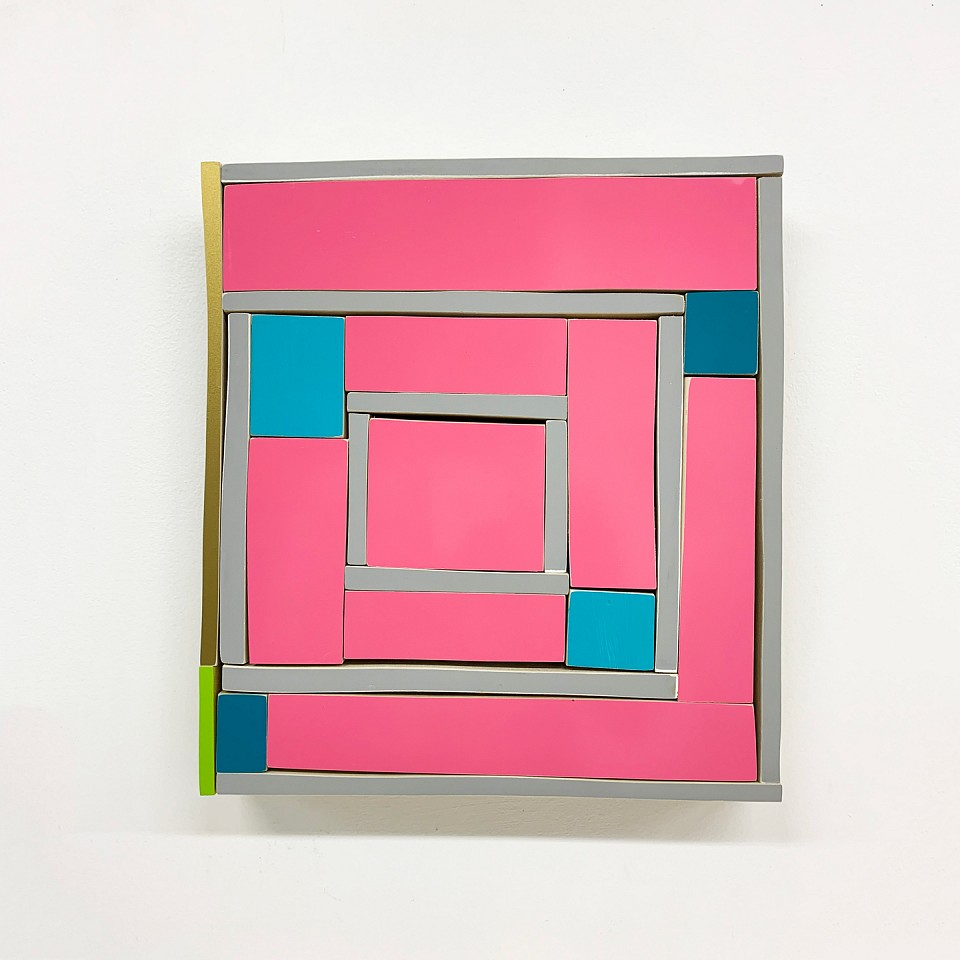 Andrew Zimmerman   Pink and Blue , 2019  ZIM685   Automotive paint on wood, 13 x 12 x 1 1/2 inches