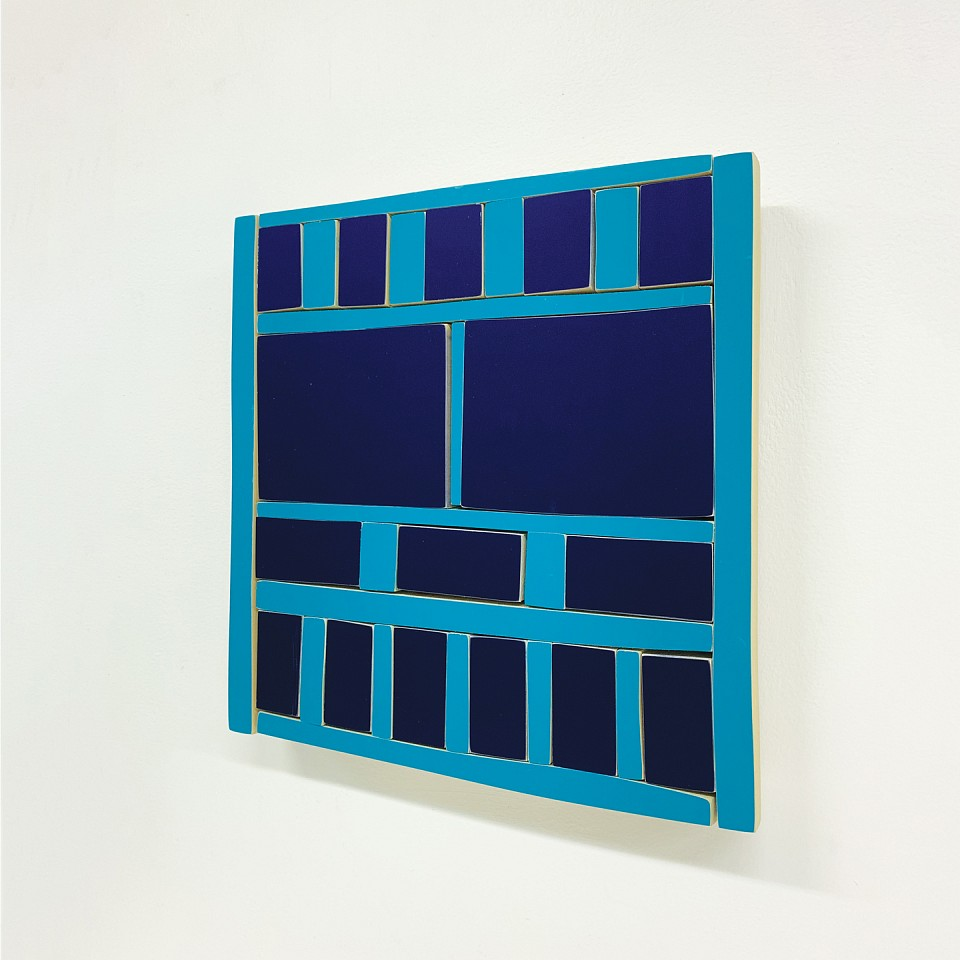 Andrew Zimmerman   Two Blues , 2019  ZIM687   Automotive paint on wood, 12 3/4 x 12 1/2 x 1 1/2 inches