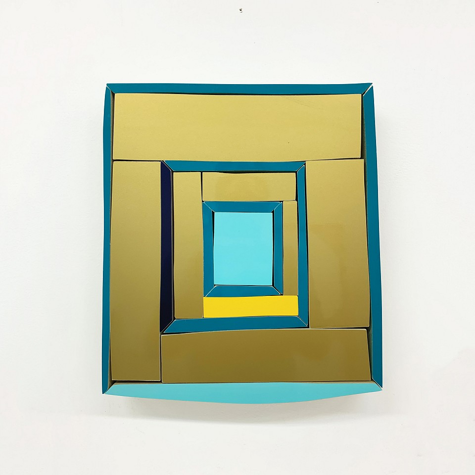 Andrew Zimmerman   Mayan Yellow and Blue , 2019  ZIM688   Automotive paint on wood, 14 x 11 3/4 x 1 1/2 inches