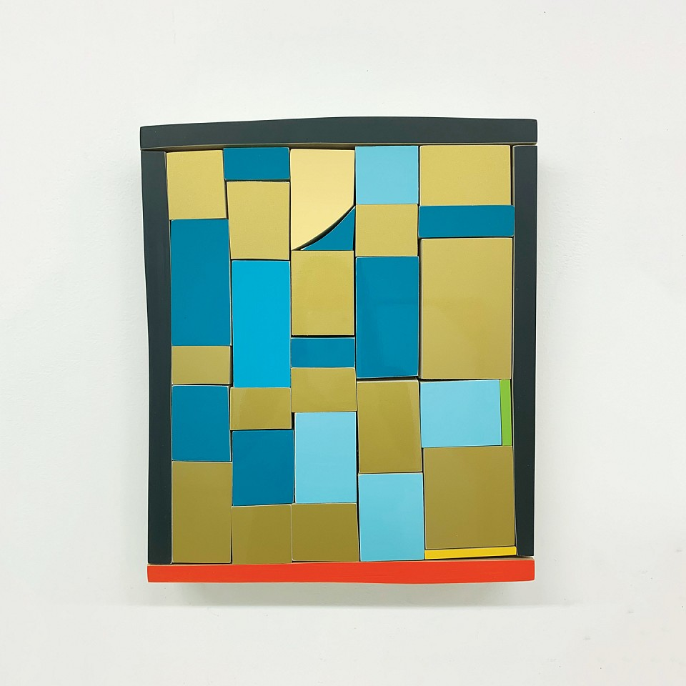 Andrew Zimmerman   Mayan Yellow and Blue and Red , 2019  ZIM689   Automotive paint on wood, 14 x 12 x 1 1/2 inches